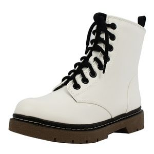 Shoes - White Faux Leather Lace Up Lug Sole Military Boot